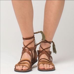 Free People Camel Colored Ankle Sandals Size 37